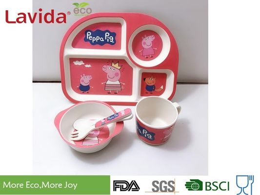 China Non Toxic Food Safe Bamboo Fiber Baby Dinnerware Set With Pattern Mug Spoon / Fork supplier