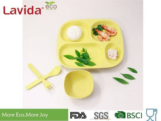 China Eco - Friendly Waterproof Bamboo Childrens Dinner Set Reusable Food Safe Square Shape supplier