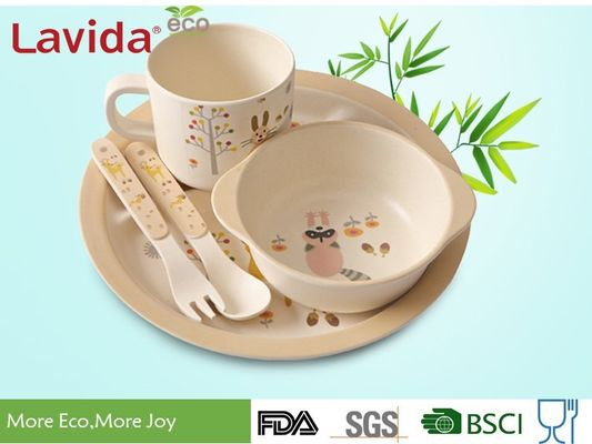 China Reusable Bamboo Childrens Dinner Set Durable Non - Fragile Formaldehyde Free supplier