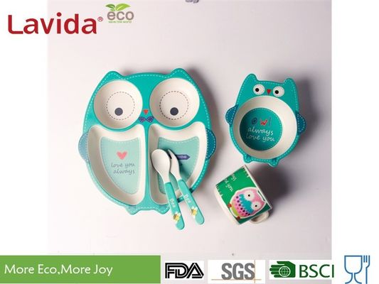 China Biodegradable Bamboo Childrens Dinner Set Non - Fragile Cartoon Owl Animals Design supplier