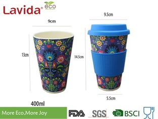 China Dishwasher Safe Food Grade Bamboo Takeaway Cups Smelless With Grip Ring / Silicon Lid supplier