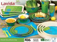 China Food Grade Safe Bamboo Tableware Set Contrast Blue And Green Color Smooth Surface factory