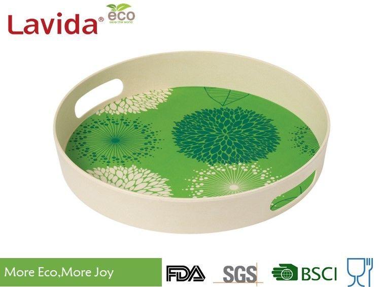 Anti Slide Food Grade Bamboo Fiber Tray Melamine Serving Tray