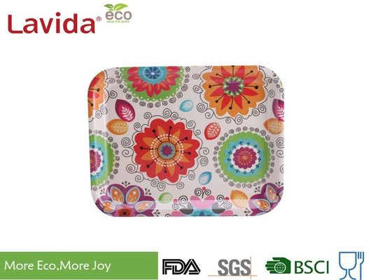 13 Inch Bamboo Fiber Tray , Plastic Rectangular Tray Customized Colorful Flower Design