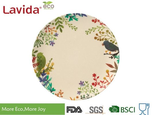 Popular Design Print Eco Bamboo Plates 8 Inch Acidproof With Unique Rustic Texture