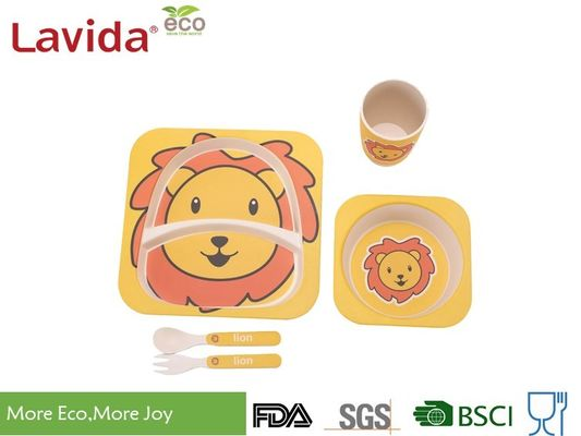 Shatter Proof Bamboo Childrens Dinner Set , BPA Free 5 Pieces Bamboo Fibre Kids Set