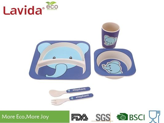 Baby Elephant Design Bamboo Childrens Dinner Set , Recycled Natural Bamboo Kids Dinnerware