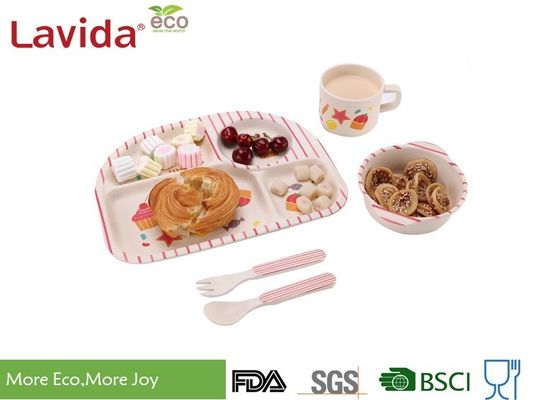 Tasteless Food Safe Bamboo Baby Dinner Set Big Size With Delicate Appearance