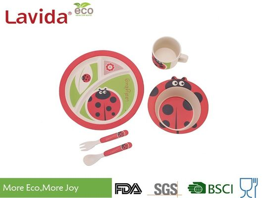 Food Grade Safe Children Bamboo Dinnerware Set Anti - Bacteria Easy Cleaning