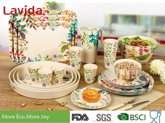 Customized Bamboo Disposable Dinnerware European Water - Colored Flowers And  Birds Style
