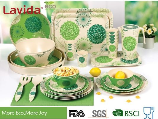 Green Color Bamboo Fiber Dinnerware , Waterproof Non - Odor Bamboo Fiber Dishes
