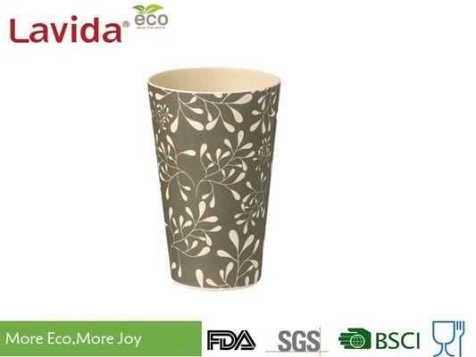Gray Large Volume Bamboo Fiber Cup Vintage Flower Style Disposable Food Grade