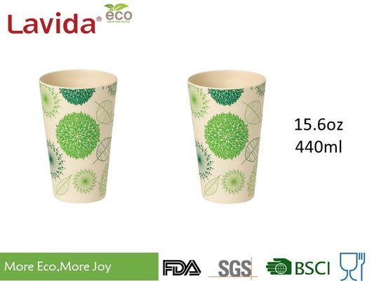 Round Shape 15.6oz Bamboo Eco Mug Customized Printing High Temperature Tolerance