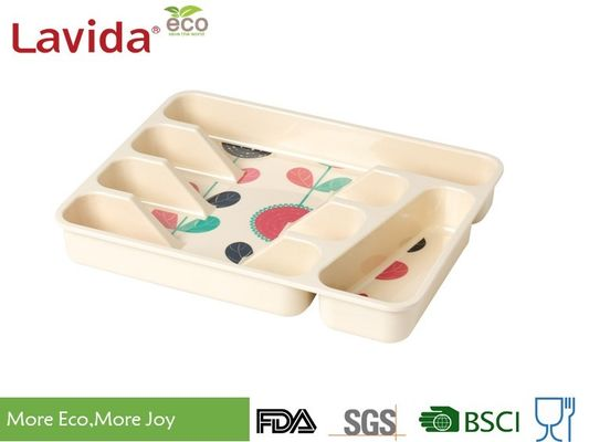 BPA FREE LFGB FDA Reusable Bamboo Fibre Tray Rectangular Melamine Flatware Tray PP Flatware Case with decal printing