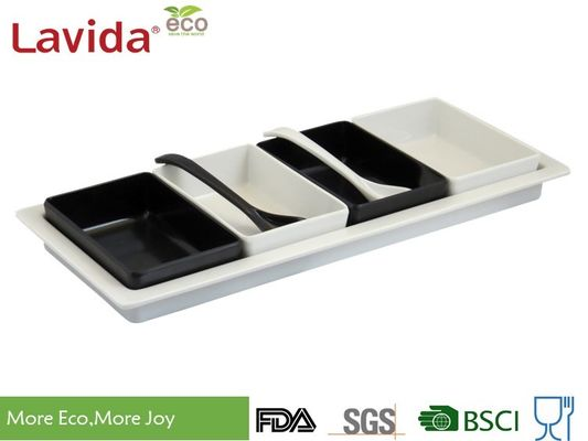 BPA Free Non - Toxic Melamine Dinner Trays Dishwasher Safe With Removable Bowl / Spoon