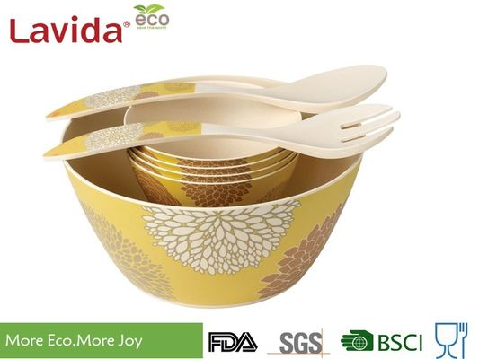 China Heat Resistant	Bamboo Salad Bowl Set Non - Odor Easy Cleaning Unbreakable Matt Finish factory