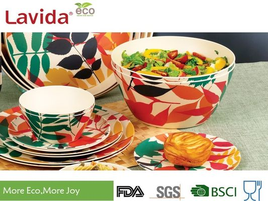 Non Toxic Tasteless Bamboo Salad Bowl Set Waterproof With Customized Prints