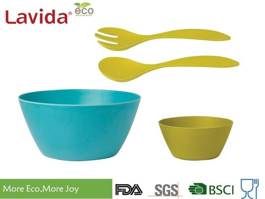 Biodegradable Bamboo Salad Bowl Set Melamine Serving BPA / Heavy Metals Free