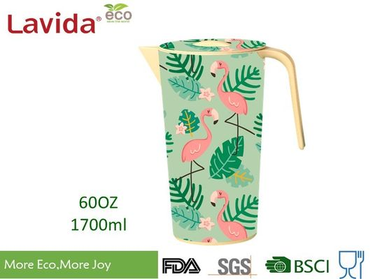 Tropical Nature Style Bamboo Water Jug  Shatter Proof Recycled Material Beverage Serving Pitcher with Large Capacity