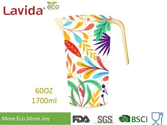 Outdoor Indoor Bamboo Water Jug Melamine Beverage Pitcher Unbreakable With Colorful Prints and Customized logo
